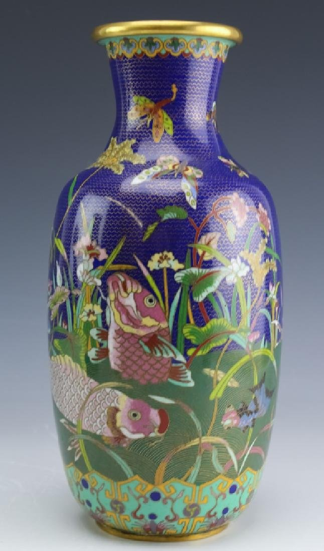 PAIR Chinese Export Fine Wire Cloisonne Koi Vases - 3