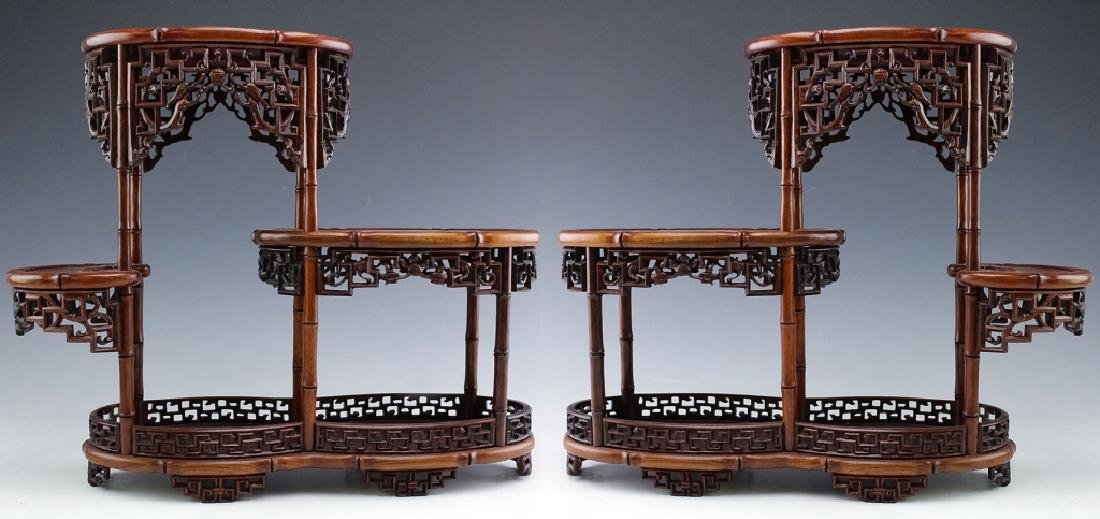 PAIR Chinese Carved Wood Reticulated Figure Stands