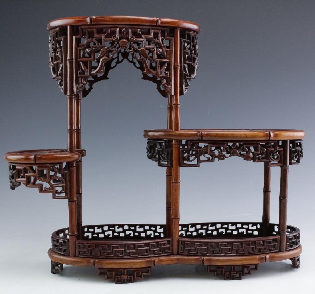 PAIR Chinese Carved Wood Reticulated Figure Stands - 3