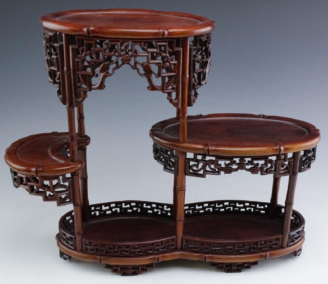 PAIR Chinese Carved Wood Reticulated Figure Stands - 4