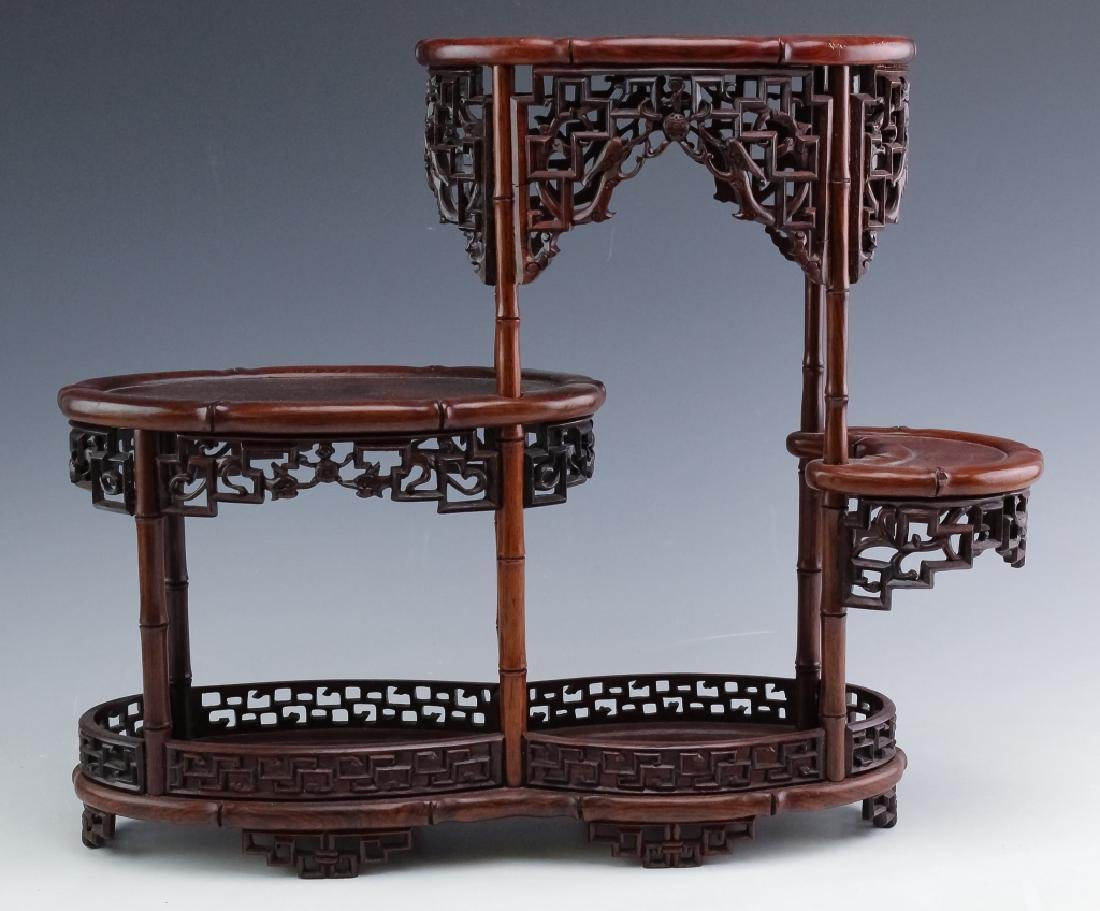 PAIR Chinese Carved Wood Reticulated Figure Stands - 5