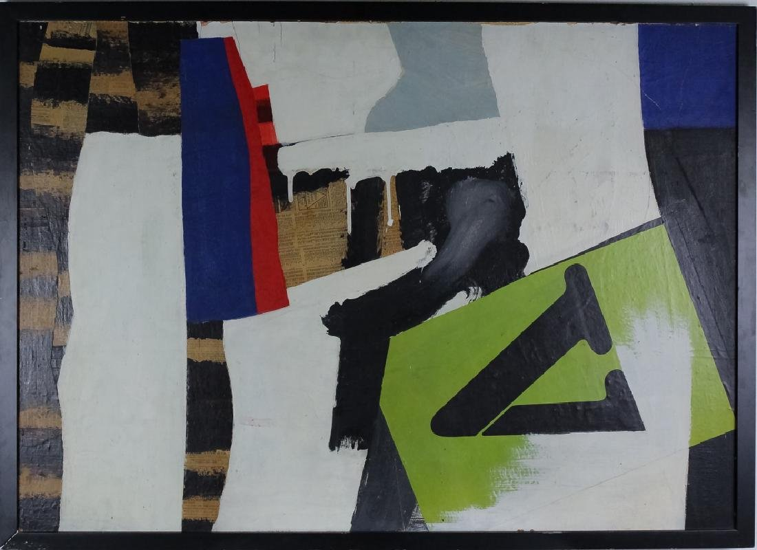 George Morris Style Abstract Mixed Media Painting