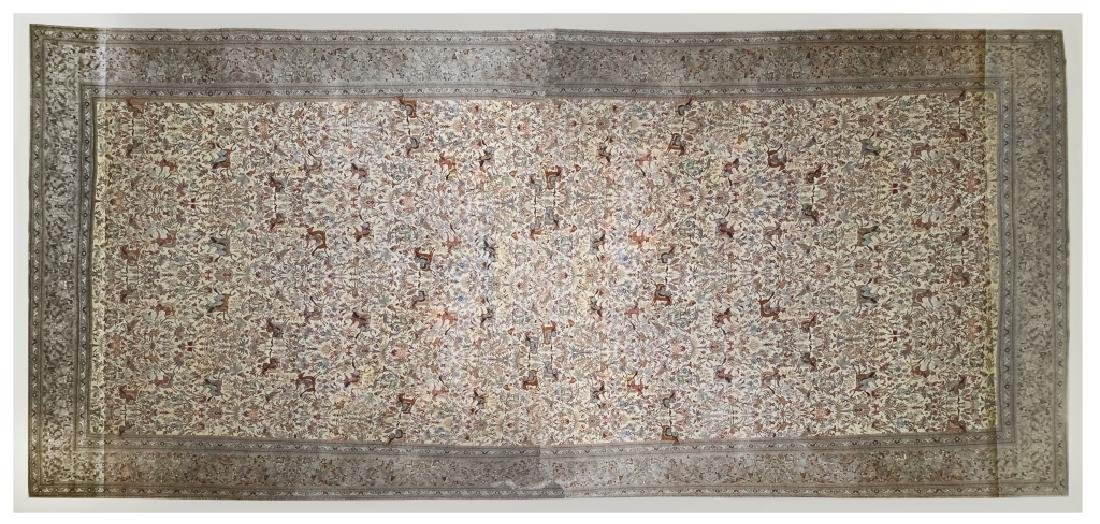 Palace Sized H-Knotted Oriental Hunting Carpet Rug