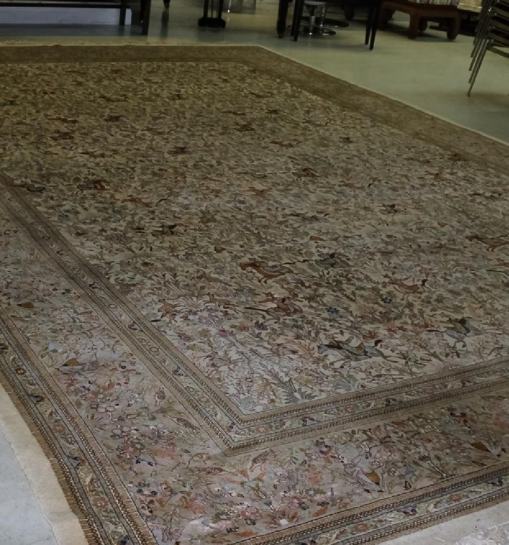 Palace Sized H-Knotted Oriental Hunting Carpet Rug - 3