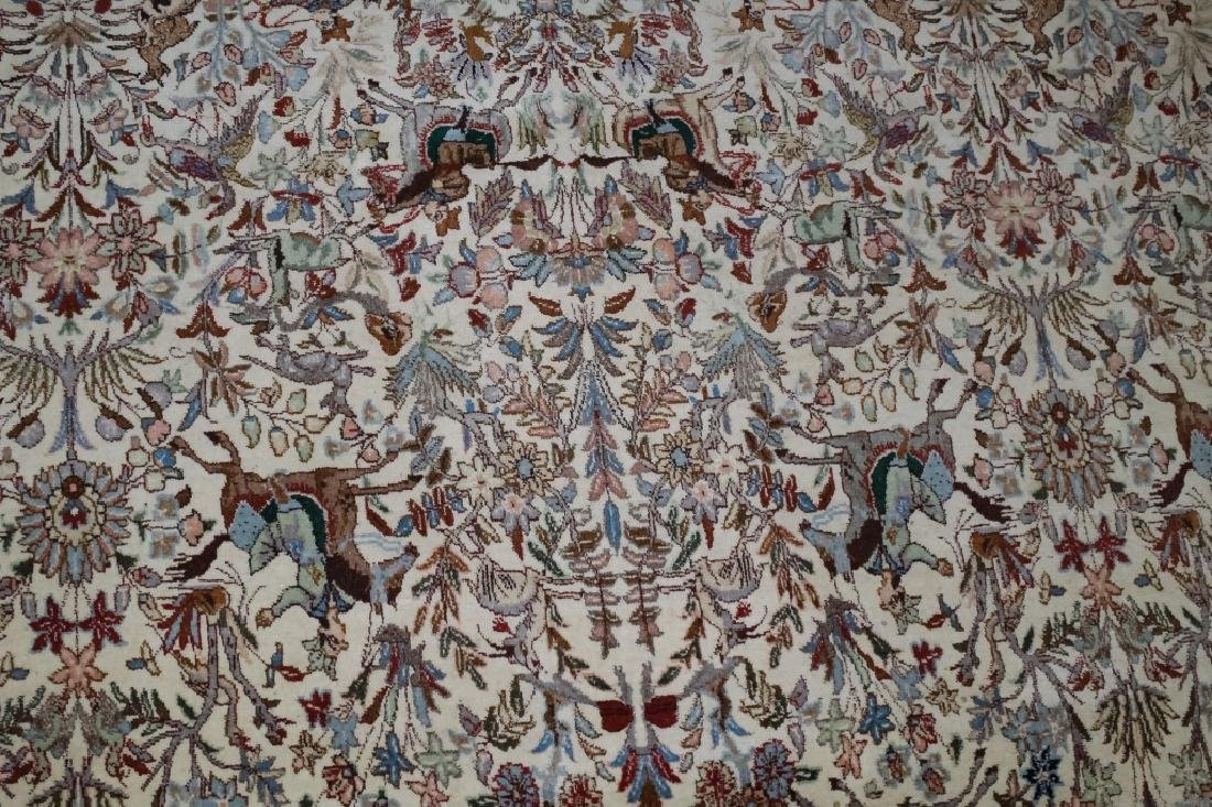 Palace Sized H-Knotted Oriental Hunting Carpet Rug - 5