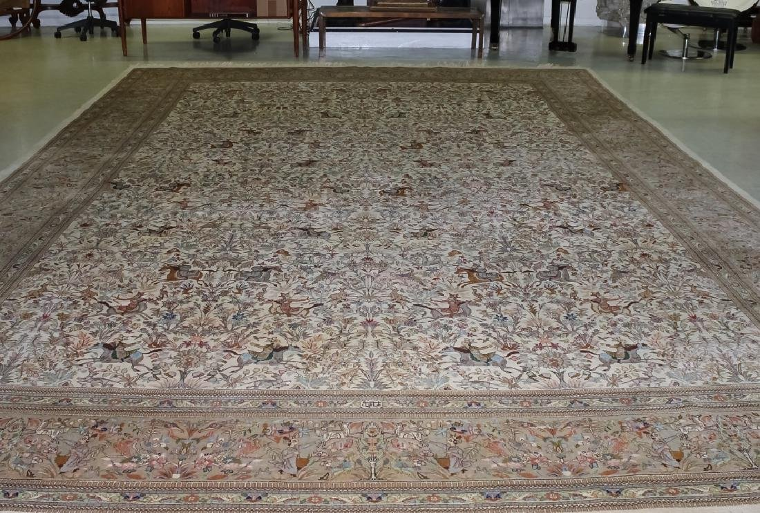 Palace Sized H-Knotted Oriental Hunting Carpet Rug - 7