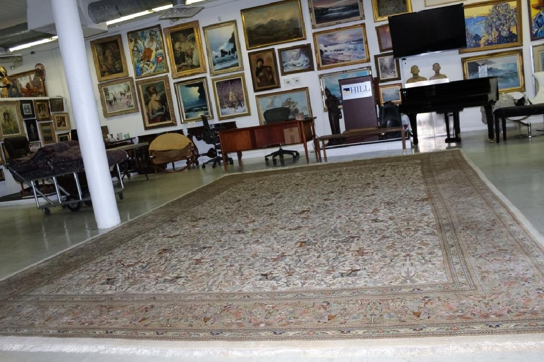 Palace Sized H-Knotted Oriental Hunting Carpet Rug - 8