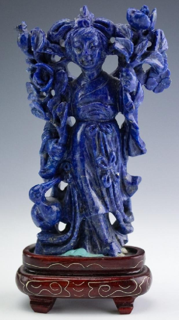 Chinese Carved Blue Lapis Lazuli Quan Yin Figurine