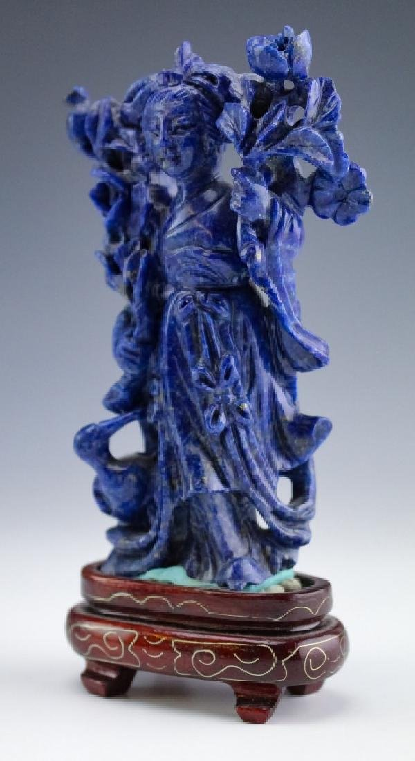 Chinese Carved Blue Lapis Lazuli Quan Yin Figurine - 2