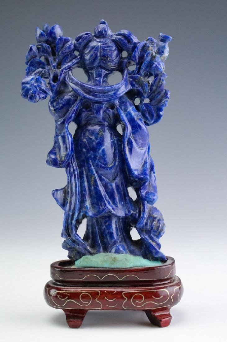 Chinese Carved Blue Lapis Lazuli Quan Yin Figurine - 3