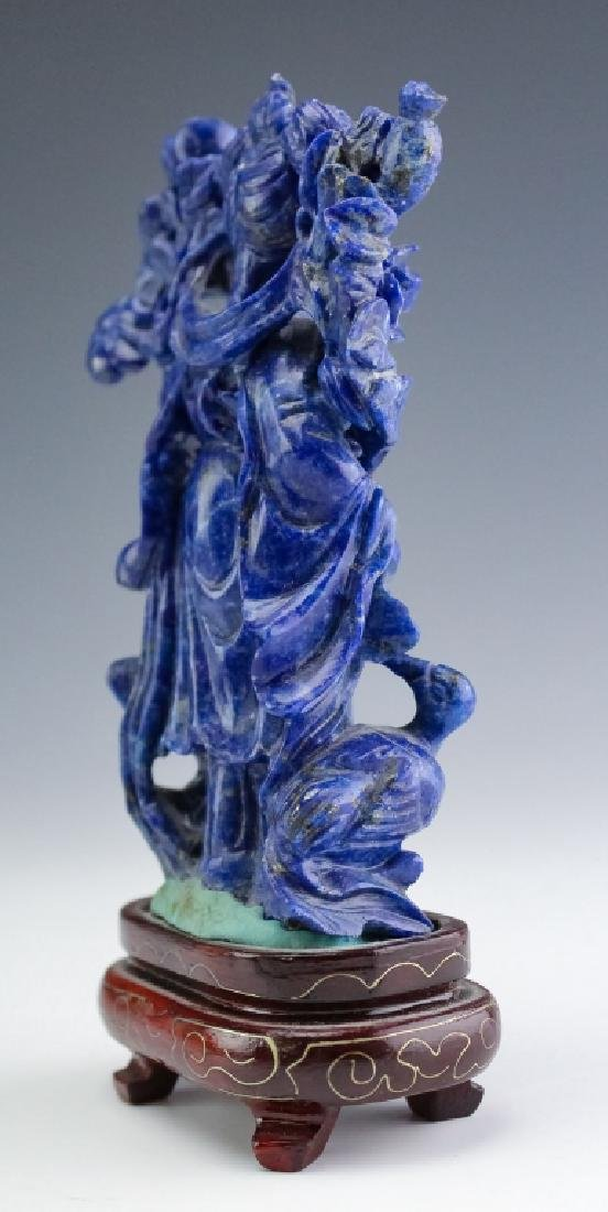 Chinese Carved Blue Lapis Lazuli Quan Yin Figurine - 4