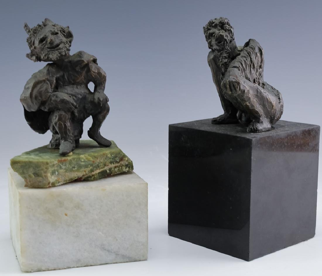 MCM Brutalist Modern Figural Bronze Art Sculptures