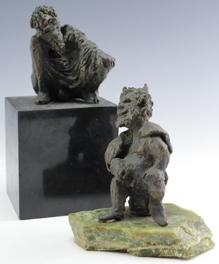 MCM Brutalist Modern Figural Bronze Art Sculptures - 2