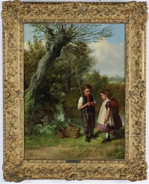 2170a13f5 William Bramley Figural Landscape Oil Art Painting. placeholder. See Sold  Price