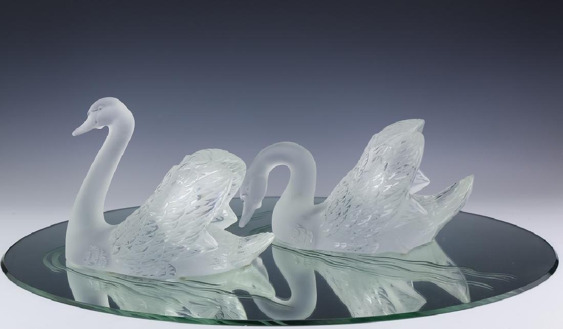 Lalique Crystal Art Glass PR Swans w Mirror SIGNED