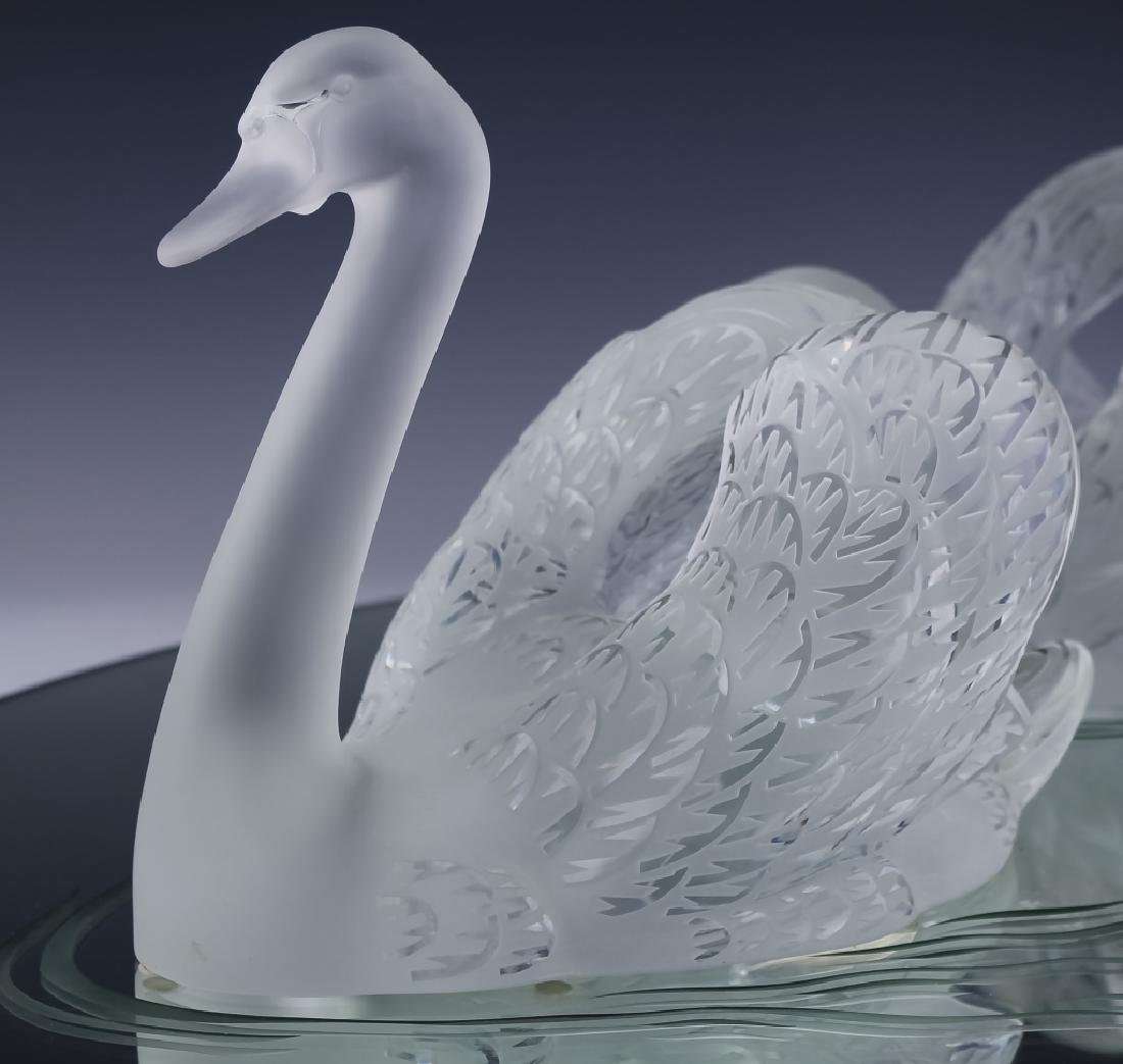 Lalique Crystal Art Glass PR Swans w Mirror SIGNED - 2