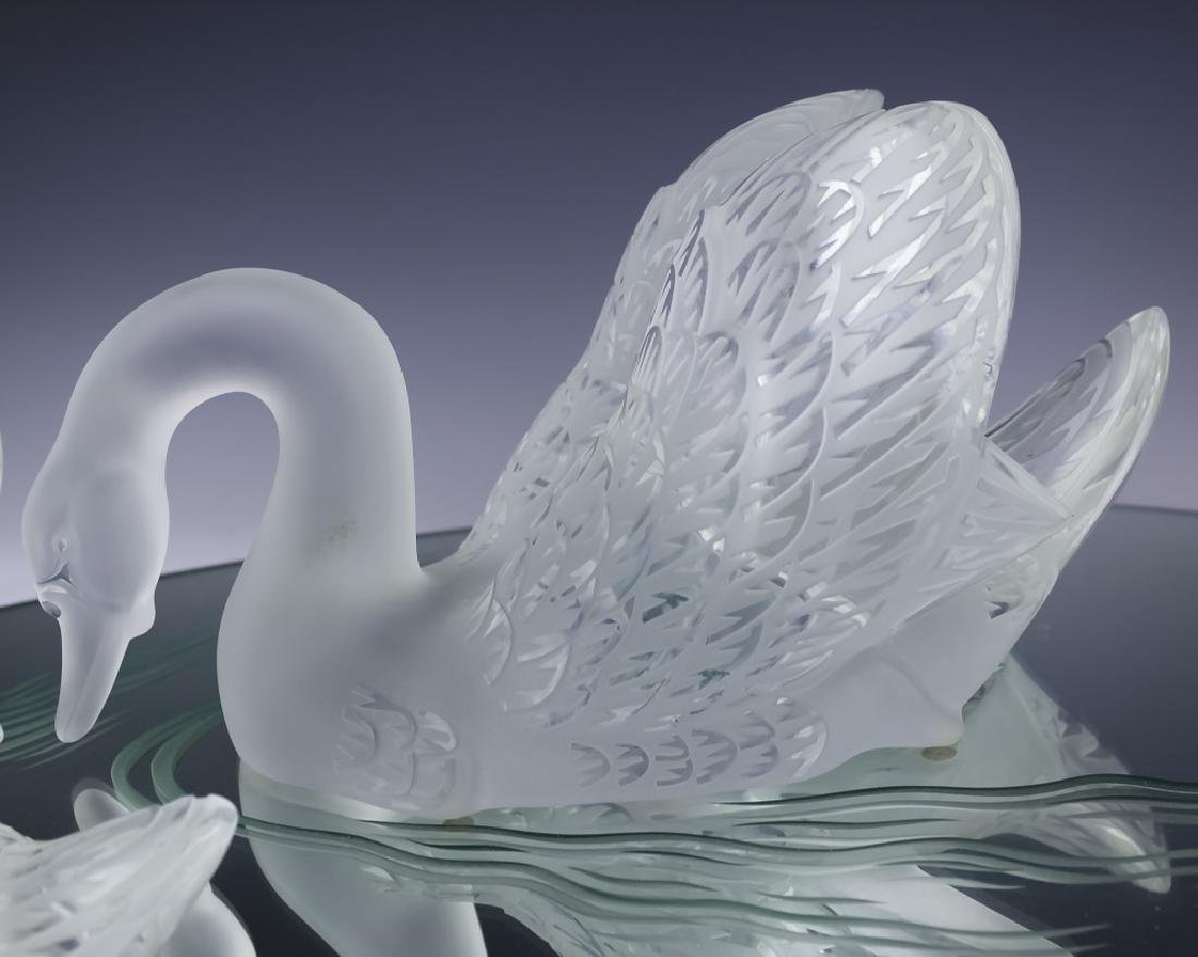 Lalique Crystal Art Glass PR Swans w Mirror SIGNED - 3