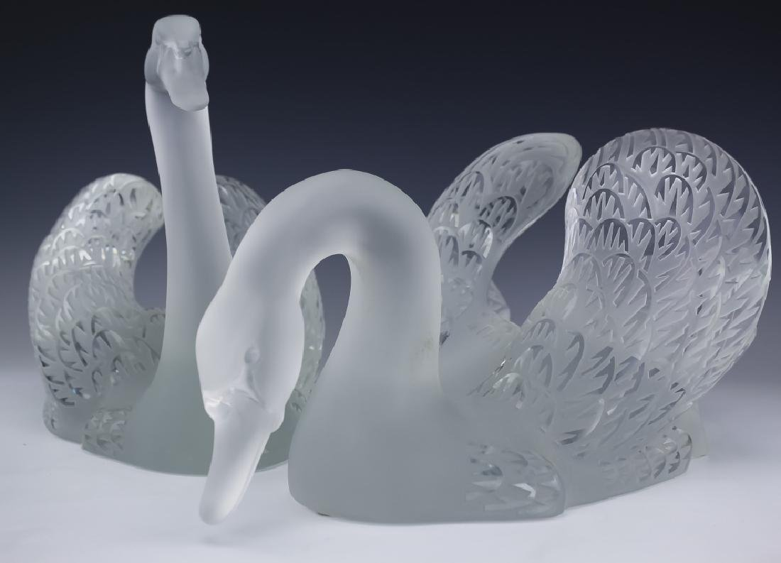 Lalique Crystal Art Glass PR Swans w Mirror SIGNED - 6