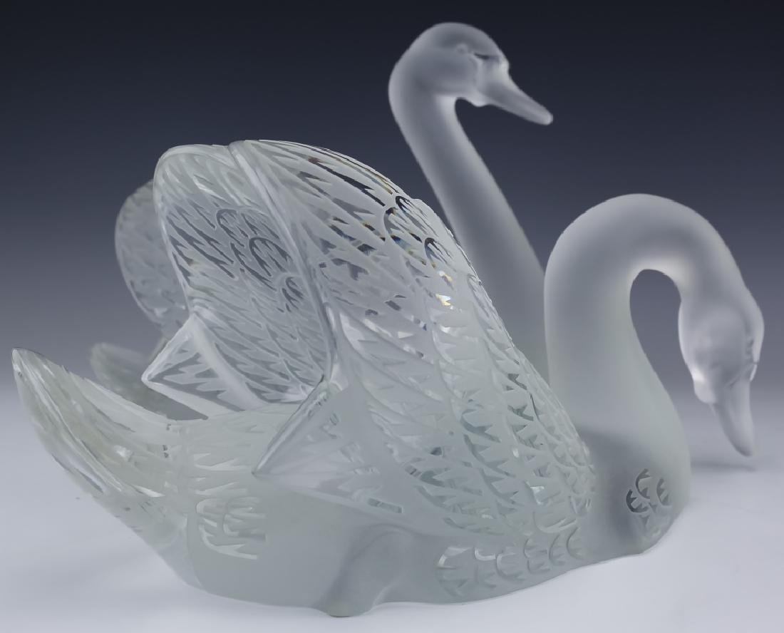 Lalique Crystal Art Glass PR Swans w Mirror SIGNED - 7