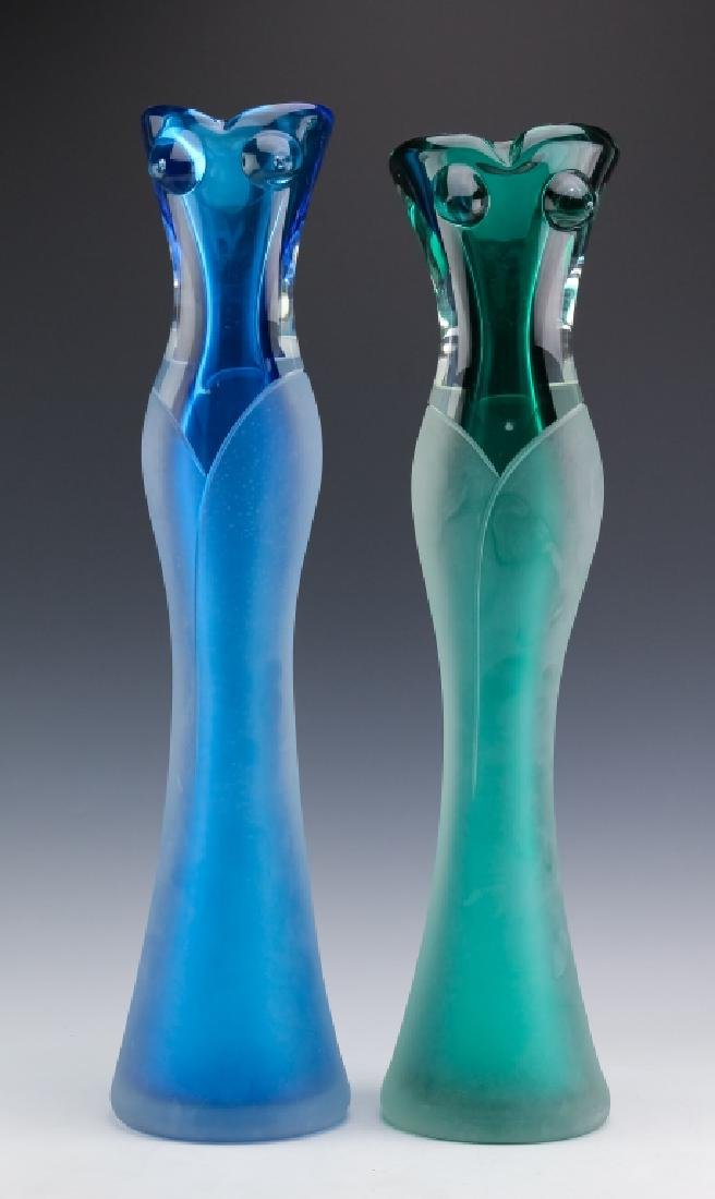Stefano Toso PAIR of Murano Art Glass Figural Vase