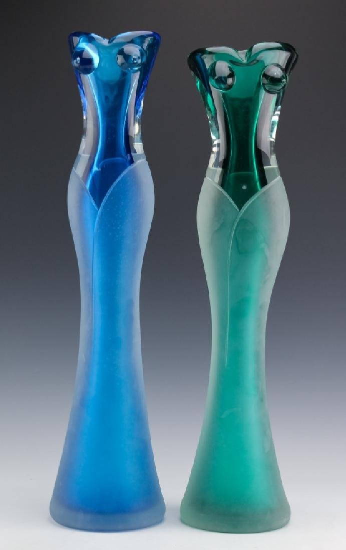 Stefano Toso PAIR of Murano Art Glass Figural Vase - 2