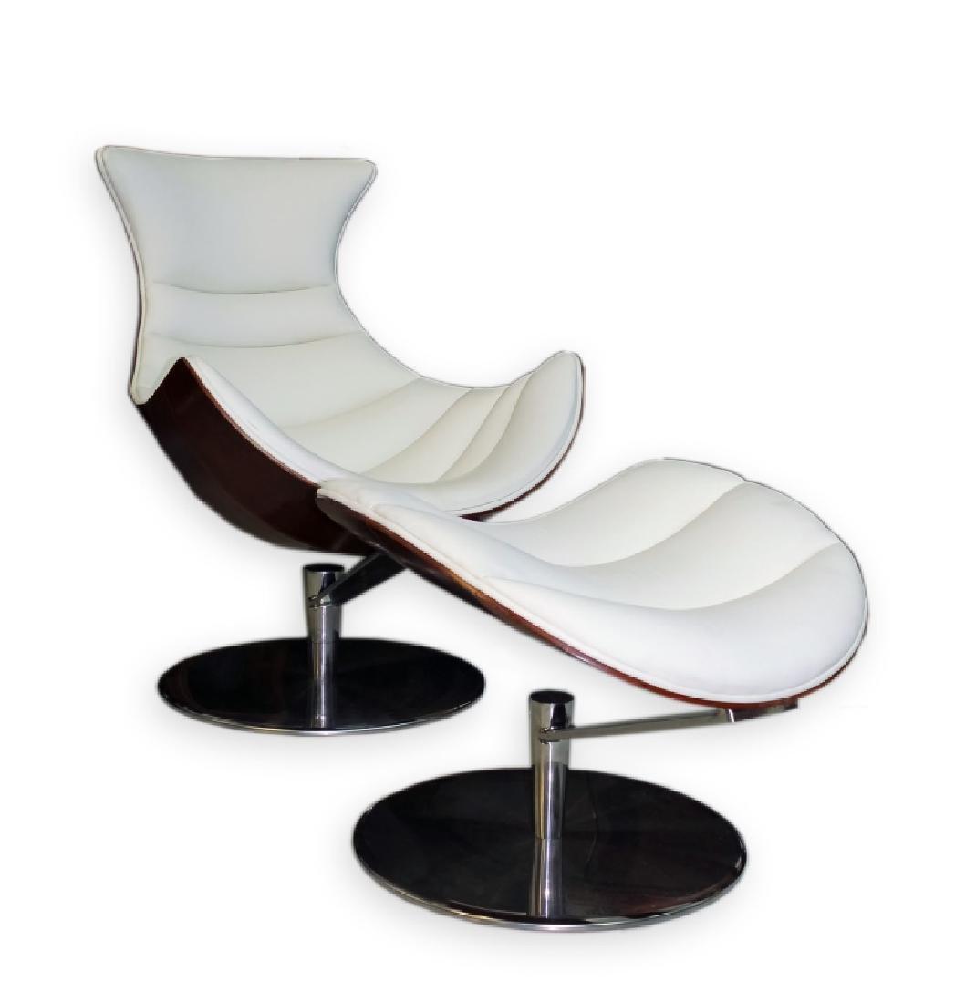 Fjords Leather Lobster Chair & Ottoman Set MODERN