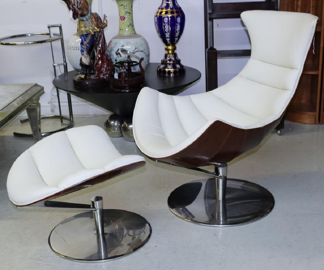 Fjords Leather Lobster Chair & Ottoman Set MODERN - 3