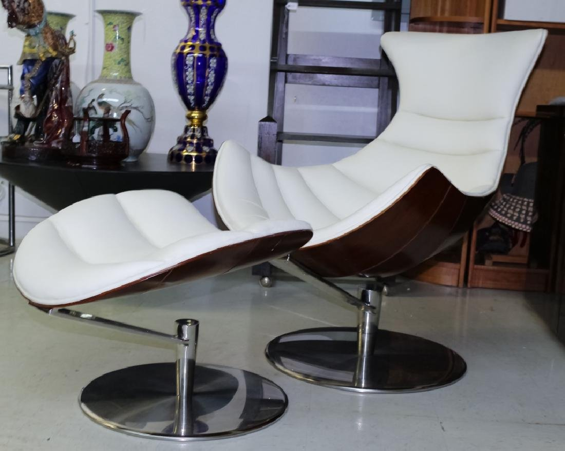 Fjords Leather Lobster Chair & Ottoman Set MODERN - 7