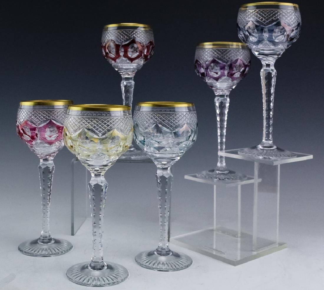 6 Bohemian Czech Cut Crystal Wine Goblets SET