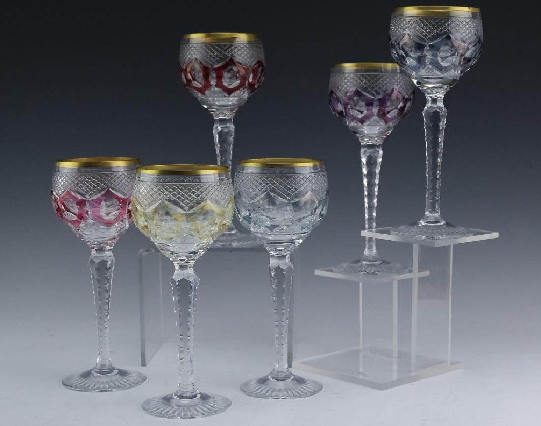 6 Bohemian Czech Cut Crystal Wine Goblets SET - 3