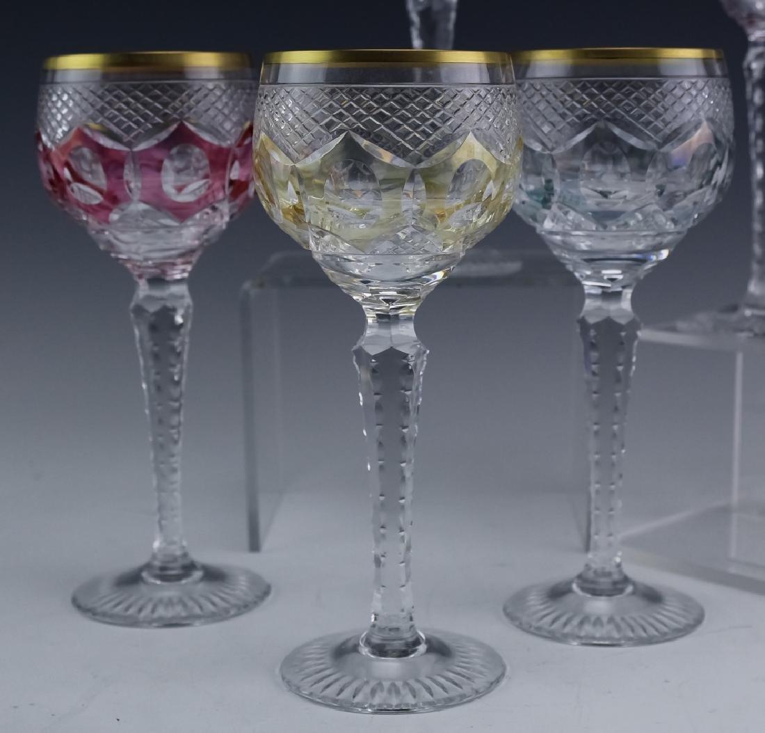 6 Bohemian Czech Cut Crystal Wine Goblets SET - 4