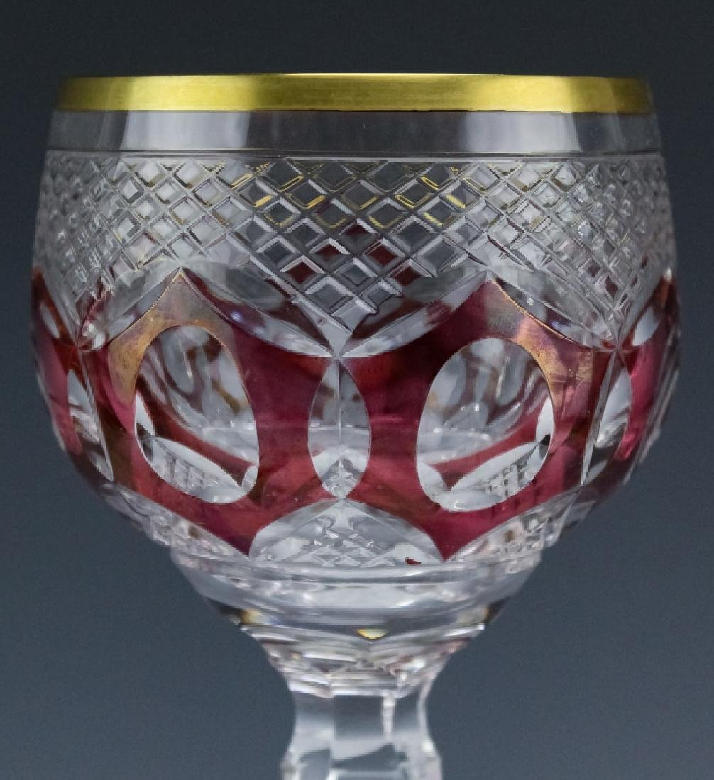 6 Bohemian Czech Cut Crystal Wine Goblets SET - 6