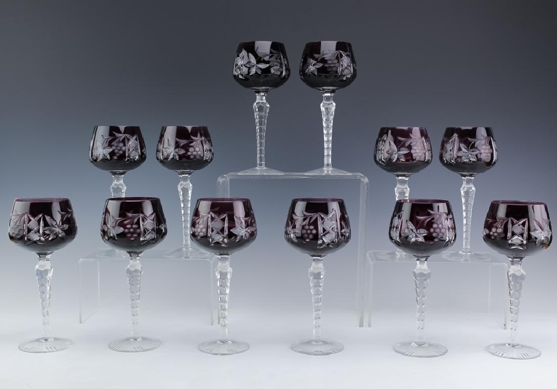 12 Bohemian Amethyst Purple Crystal Wine Glasses