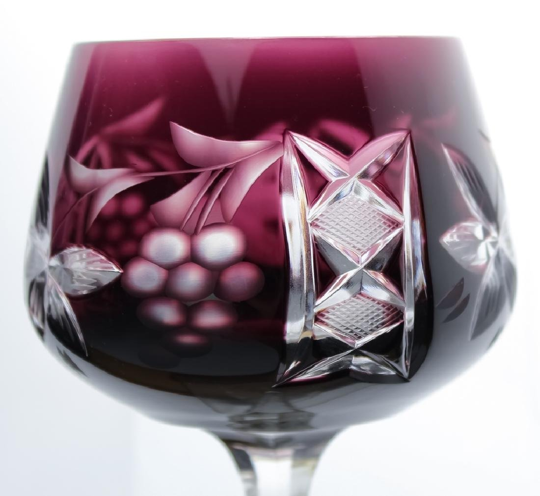 12 Bohemian Amethyst Purple Crystal Wine Glasses - 2