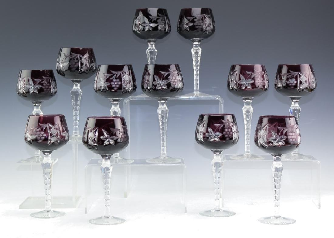 12 Bohemian Amethyst Purple Crystal Wine Glasses - 5