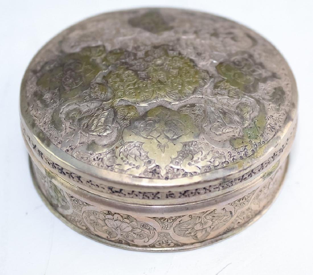 Ottoman, Persian Silver Floral Etched Circular Box - 2