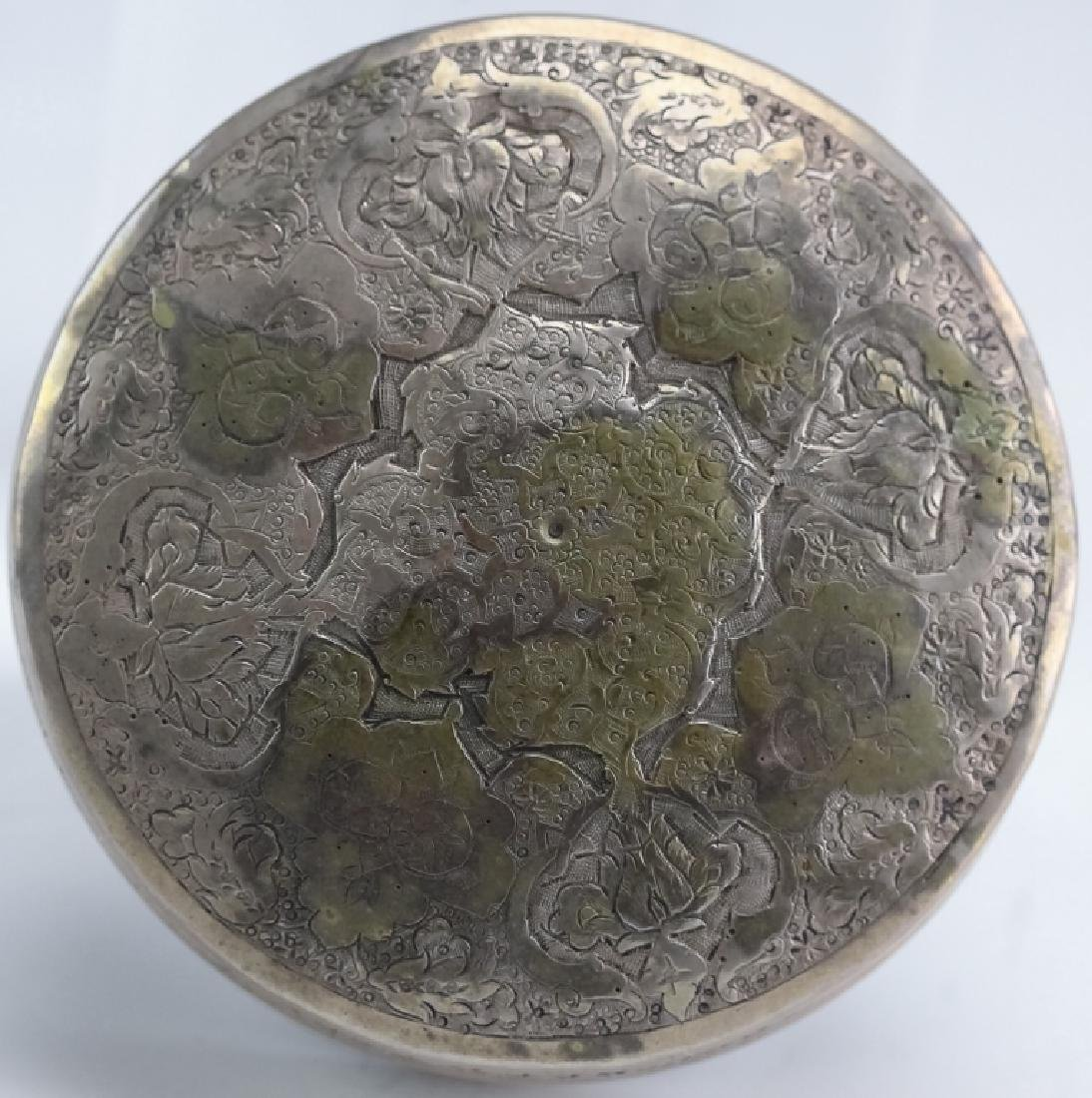 Ottoman, Persian Silver Floral Etched Circular Box - 6