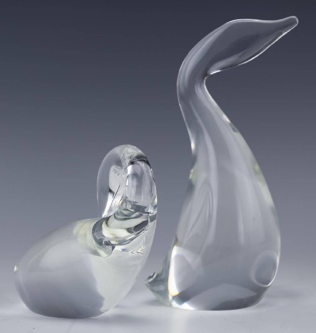 Steuben Studio Art Glass PAIR Swan Duck SIGNED