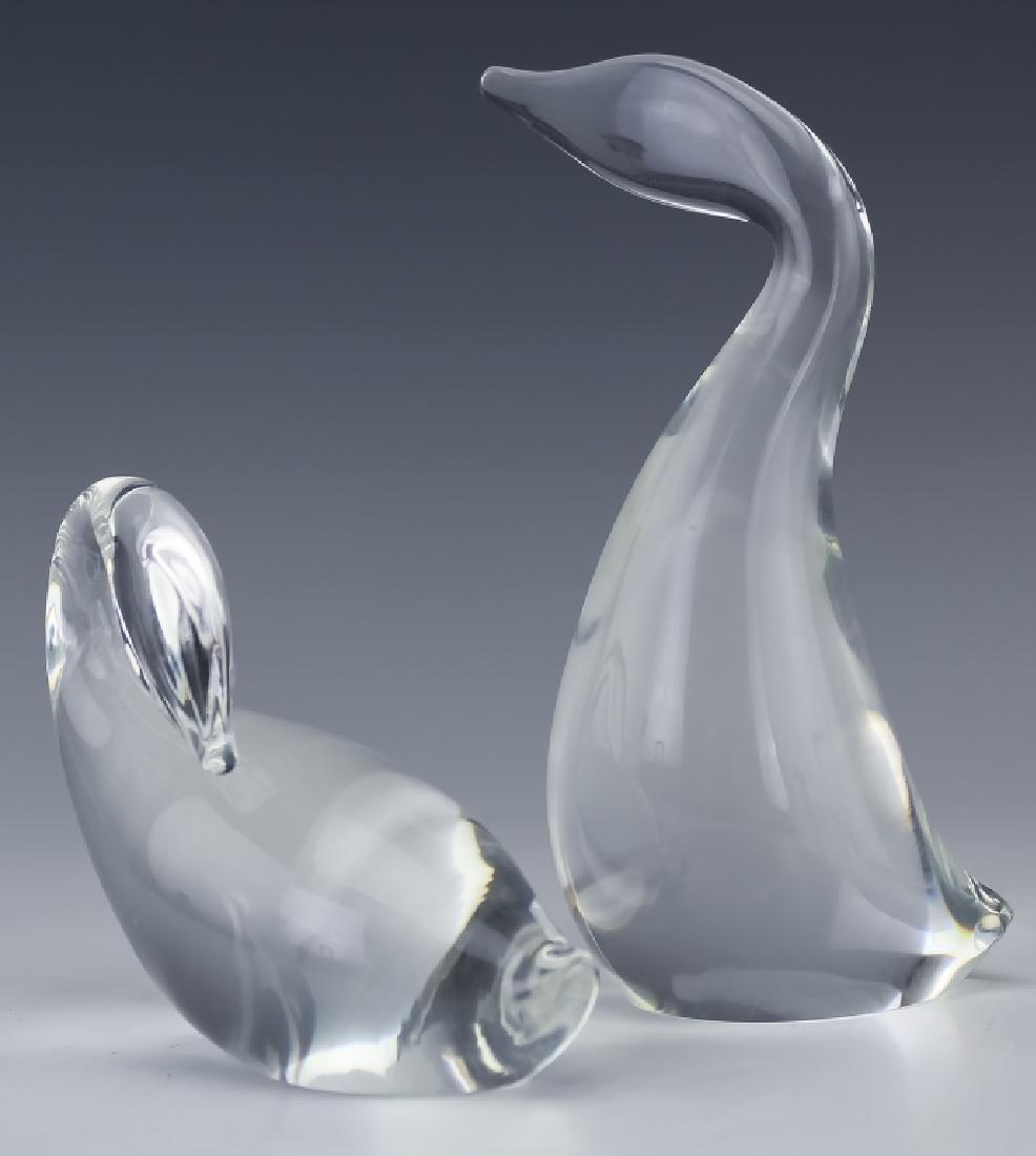 Steuben Studio Art Glass PAIR Swan Duck SIGNED - 2