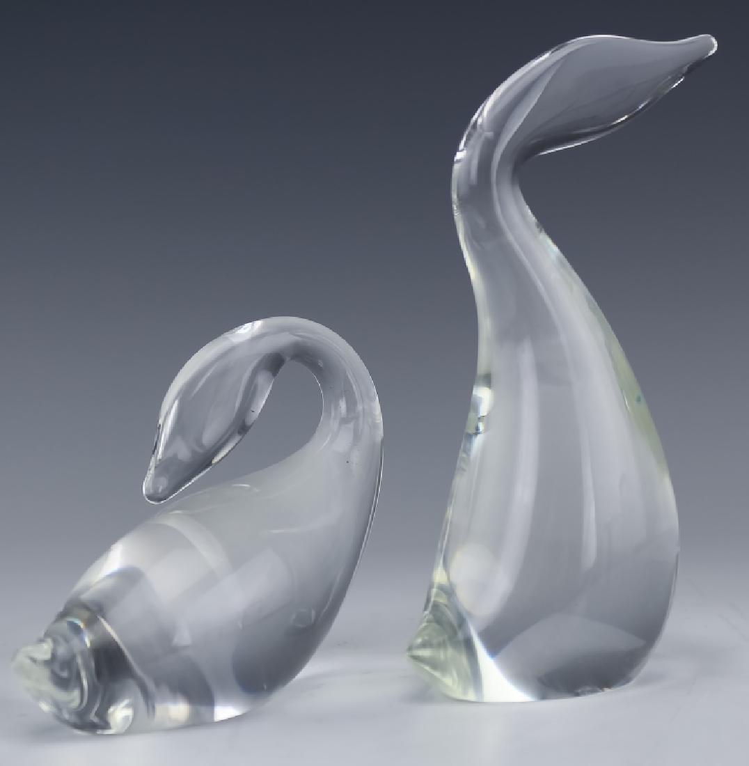 Steuben Studio Art Glass PAIR Swan Duck SIGNED - 3