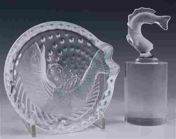 Lalique French Koi Fish Bowl & Fish Figurine LOT