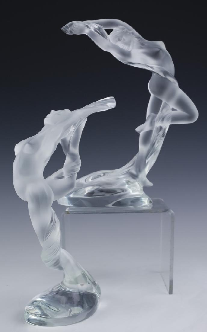 Lalique French Art Glass 2 Nude Figural Sculpture - 10