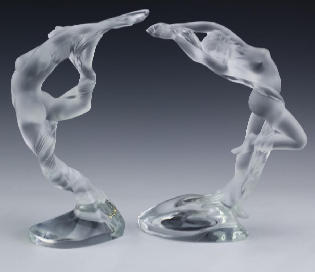 Lalique French Art Glass 2 Nude Figural Sculpture