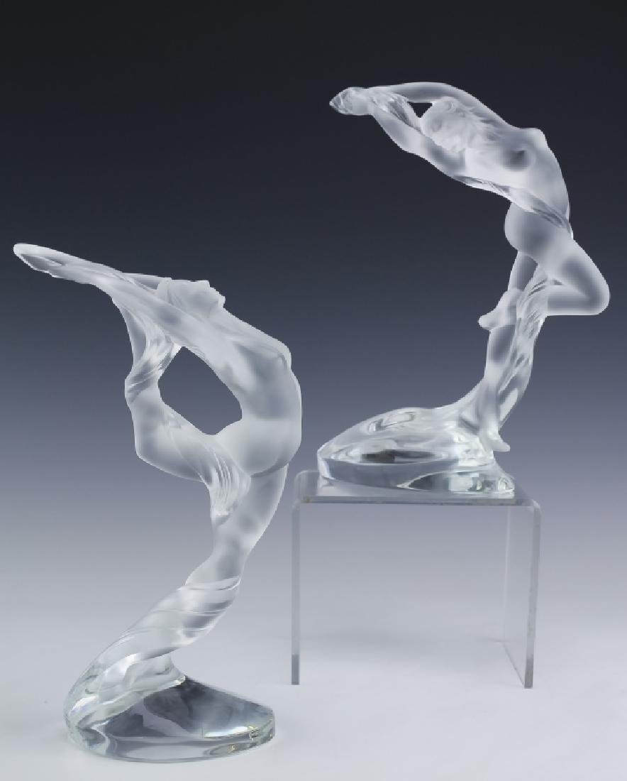 Lalique French Art Glass 2 Nude Figural Sculpture - 2