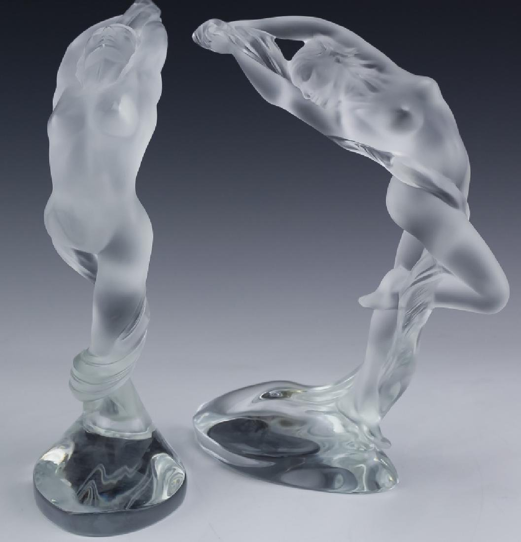 Lalique French Art Glass 2 Nude Figural Sculpture - 8