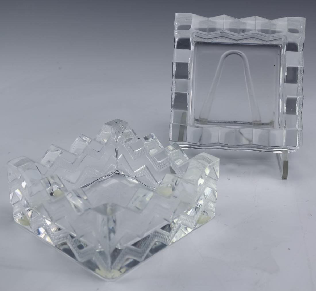 Lalique French Crystal PAIR Soudan Chevron Dishes