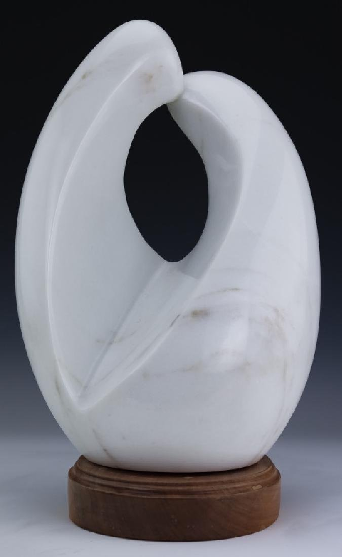 Modern Free Form White Marble Art Sculpture SIGNED