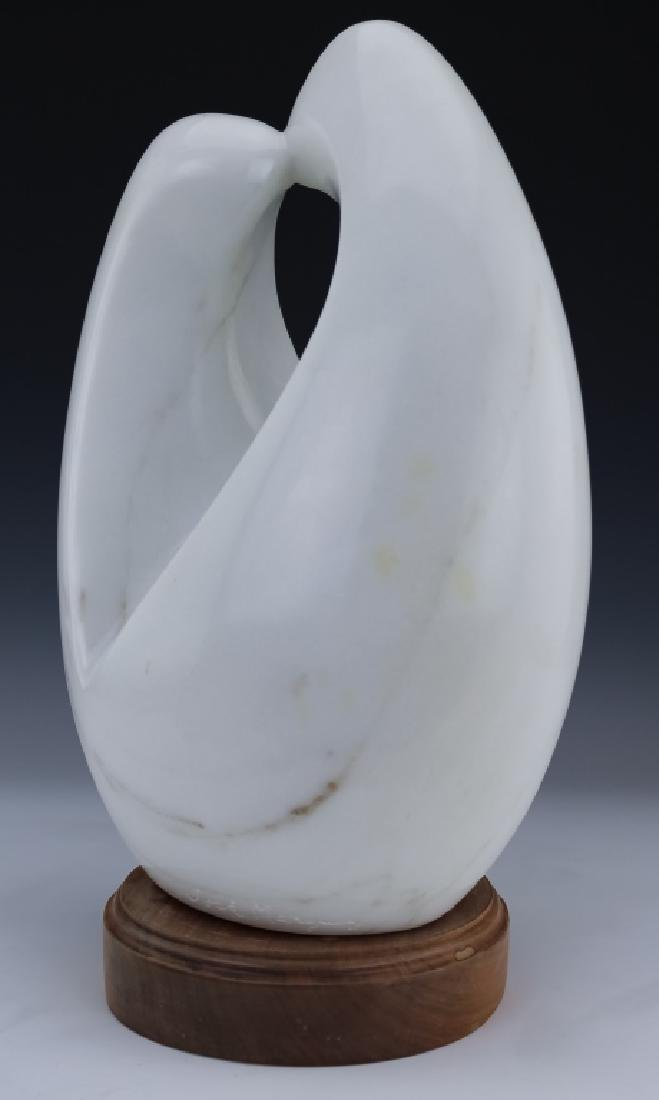 Modern Free Form White Marble Art Sculpture SIGNED - 3
