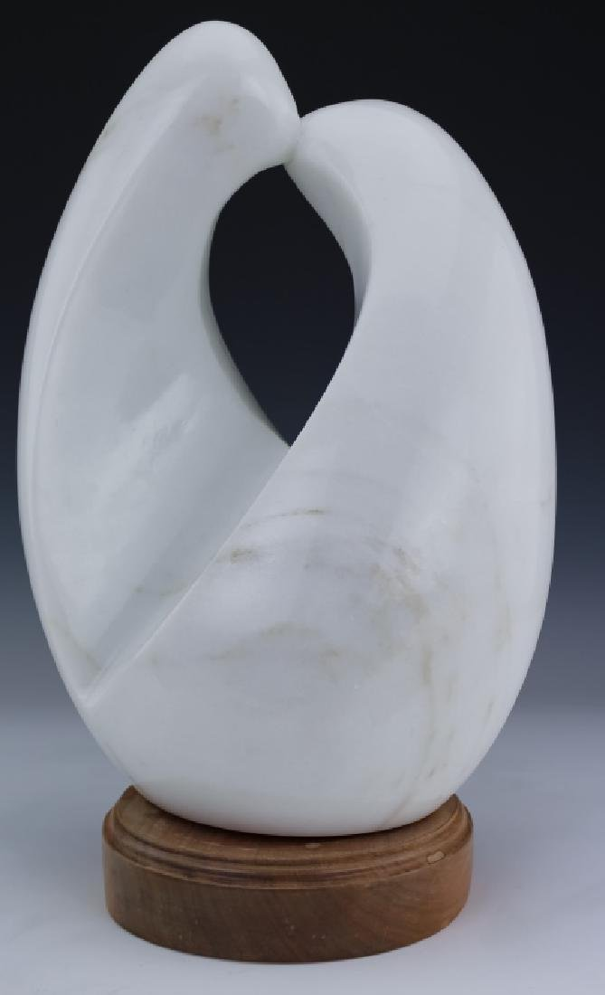 Modern Free Form White Marble Art Sculpture SIGNED - 5