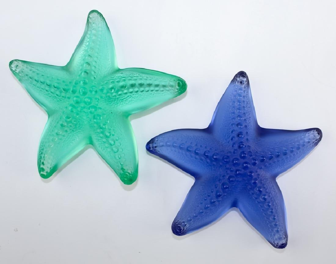 Lalique 2 x Colored Art Glass Starfish Paperweight